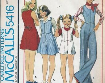 1970's Vintage Sewing Patterns - Girls Jumpsuit - Jumper- McCalls 5416 - 70's Patterns - Retro Patterns - UNCUT