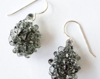 Glass Cluster Ball Earrings - Charcoal