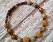 Aromatherapy Diffuser Bracelet in Yellow and Brown