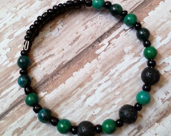 Aromatherapy Diffuser Bracelet in Jade and Black