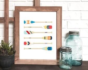 nautical print, nautical wall art, canoe paddle print, wooden boat paddle art, coastal print, painted oars wall art