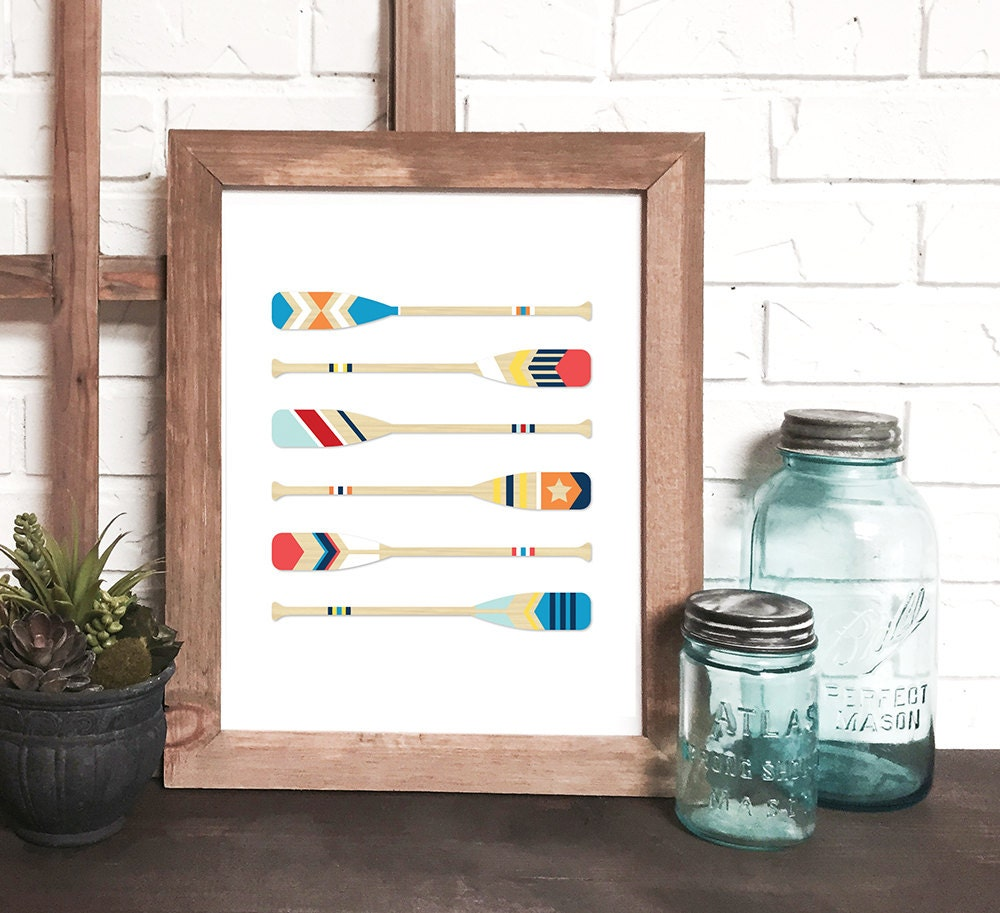 Nautical Print Nautical Wall Art Canoe Paddle Print Wooden