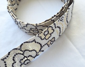 D Ring Belt, Women's belt, Plus size belt, teen belt,  black, white and flecks of gold