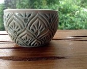 Tapestry Bowl - Tea Cup - Dish - Candle Holder - Jewelry Keeper - Gypsy Wanderer - hand carved