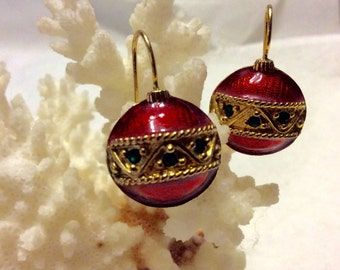 Christmas ornament earrings, red enamel green rhinestones. Free ship.