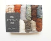 Needle Felting Kit Beginner - Wool - Starter Kit - Tools Needles Supplies - DIY Craft Kit - Natural Brown Wool Roving - DIY Home Decor
