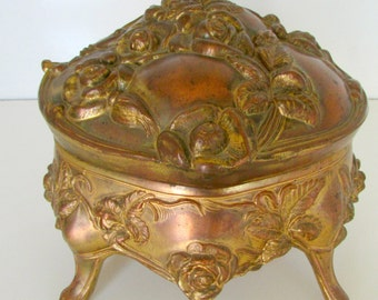 Victorian Jewelry Casket Box Large Art Nouveau Jewelry Box B and W Antique Jewelry Trinket Casket Box Gold Roses