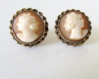 Intricate Cameo Earrings Pierced Victorian Vintage Authentic Carved Shell gold filled