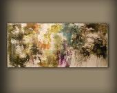 "72"" abstract painting cloud landscape art original HUGE retro vintage wall decor illustration"