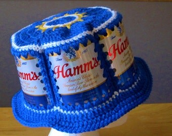 Crocheted Beer Can Hat - Hamm's