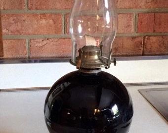 Vintage black ginger jar oil lamp