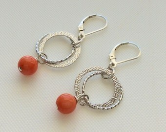 Orange Coral on Hoops Earrings, Orange Coral Earrings, Hoop Earrings, Orange Earrings, Circle Earrings, Fall Earrings, Halloween Earrings