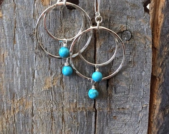 Turquoise Hoop Earrings, Silver Hoops, Turquoise Fine Silver Hoops, Hoop Earrings, Blue Turquoise Earrings