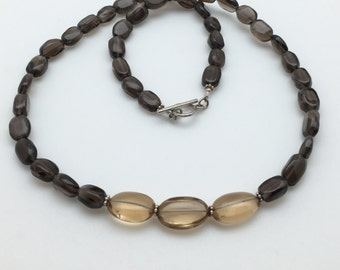 SALE - Brown Topaz and Citrine Necklace - Stone Necklace - Brown Necklace - Statement Necklace - Mothers Day Neckalce