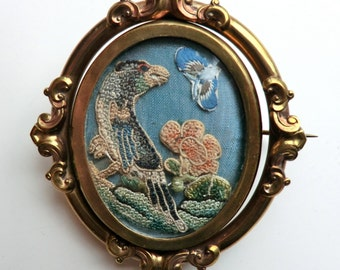 Victorian Large Swivel Brooch Handwork Silk Bird Butterfly Reverse Photo of Young Woman Hallmark England ca 1880