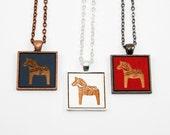 Swedish Dala Horse - Pendant Necklace - Custom Made / Choose your Color - Laser Cut Scandinavian Design Jewelry