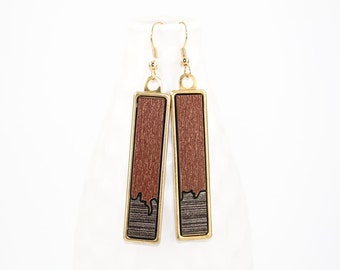 Modern Geometric Dangle Earrings - Two-Tone Glossy Laminate - Laser Cut Irregular Edge Design in Brass Setting (Copper w/ Gray Wood Accent)