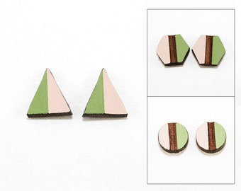 Geometric Two-Tone Wood Post Earrings - Pale Pink & Apple Green - Laser Cut Hand-Painted Studs (Choose Your Shape)