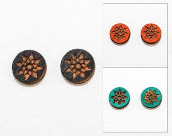 Geometric Floral Stud Earrings - Laser Cut Wooden Studs (Choose Your Color)
