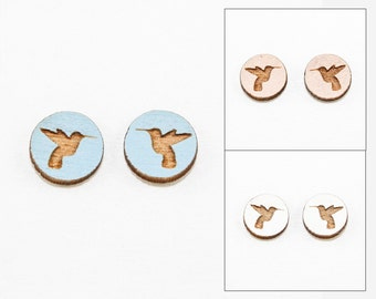 Hummingbird Stud Earrings - Laser Cut Wooden Studs (Choose Your Color)