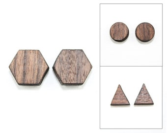 Geometric Wooden Stud Earrings - Rosewood - Laser Cut Jewelry (Choose Shape: Triangle, Hexagon, Circle) Modern Gifts for Her