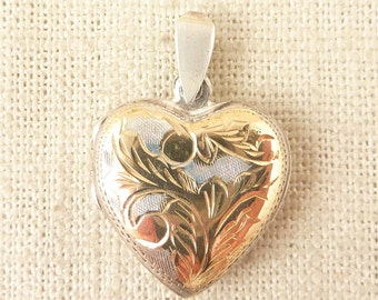 Vintage Two Toned Sterling Engraved Puffy Heart Locket