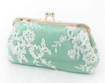 Mint Green Floral Alencon Lace Bridal Bridesmaids Clutch 8-inches