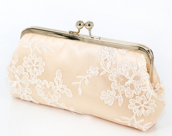 Pastel Peach Satin Floral Alencon Lace Bridal Bridesmaids Clutch 8-inches