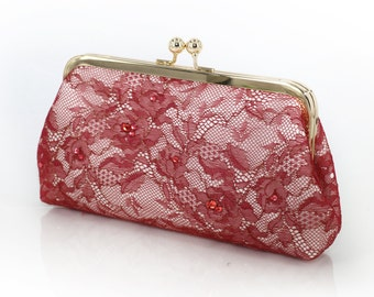 Burgundy and Gold Lace Clutch with Swarovski crystals | Bridesmaids Clutch