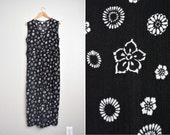 vintage '90s black & white FLORAL print sleeveless RAYON JUMPSUIT. size s m l.