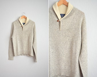 SALE // Size L // SHAWL COLLAR Sweater // Light Grey & Cream - Marled Knit - Wool-Nylon Jumper - Nautical - Preppy - Vintage '80s.