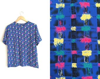 SALE // Size L // PATTERNED BLOUSE // Abstract Pattern - Cobalt Blue - Short Sleeve Shell Top - Vintage '80s/'90s.