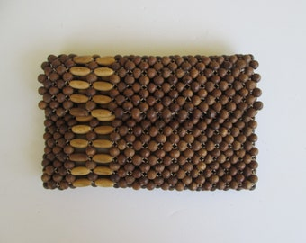 Beaded Wood Clutch Handbag