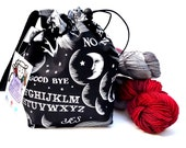 Sock Knitting Project Bag Hexipuff Small Crochet WIP Bag - Wicked Ouija