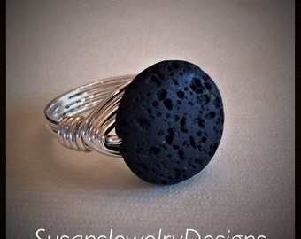 Aromatherapy Ring - sterling silver wire - coin shaped lava rock bead - any size 4 5 6 7 8 9 10 11 12 13 14 - essential oil ring jewelry