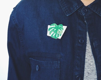 Monstera Leaf Brooch
