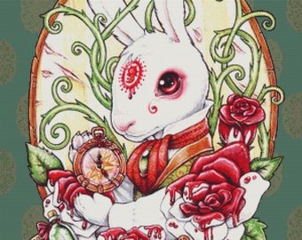 Cross stitch Kit, Rabbit Hole, Medusa Dollmaker, Modern Art Needlecraft Set with DMC Materials, Alice in Wonderland, Painted Roses, Rabbit