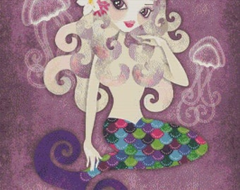 Mermaid Cross Stitch, Sandra Vargas 'Amethyste'  Purple Mermaid, Cross Stitch Kit, Complete Kit with DMC Materials, Counted Cross Stitch
