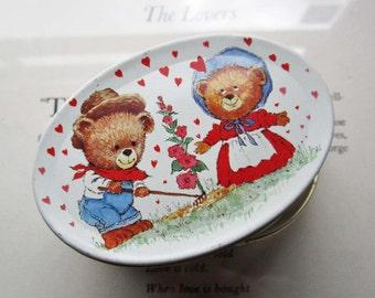 Ring Bearers Box * Vintage Tin Box * Small Oval Bear Heart Tin * Garden Farmer * Weddings  * Retro Gift Tin * Ring Box * Homestead Couple *