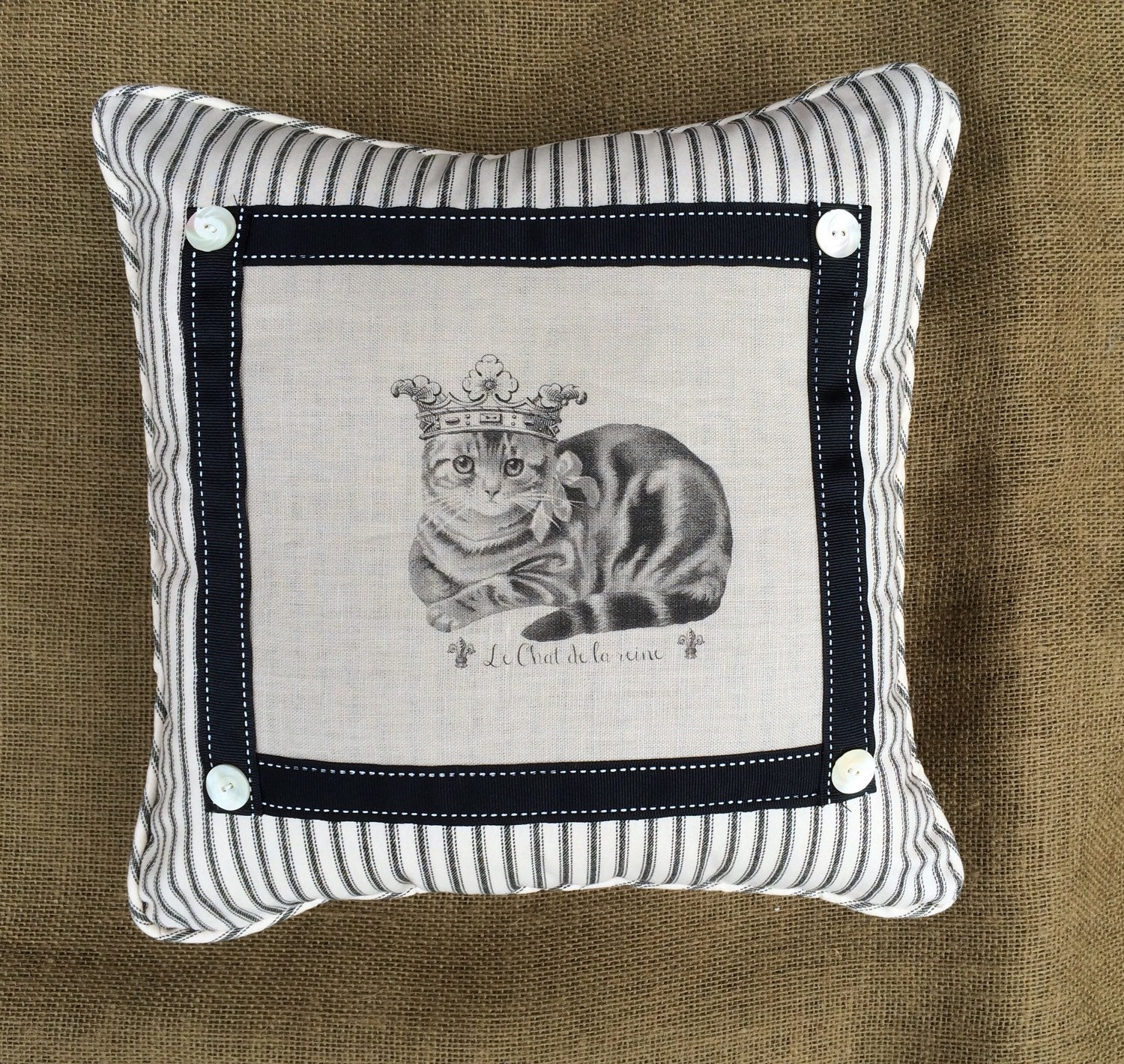 Throw Pillow In French : French Cat in Crown Printed on Linen Decorative Throw Pillow