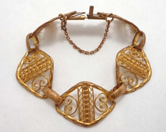 Antique Brass Filigree Bracelet Victorian Art Nouveau Deco Panel French 659
