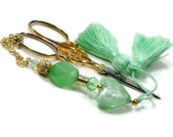 Scissor Fob Beaded Scissor Keeper Scissor Minder Mint Green Heart Key Fob Needlepoint Quilting Sewing Cross Stitch