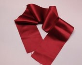 "Antique silk satin ribbon, gorgeous red, nice ribbon, 2.5"" x 26"""