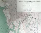 1915 Antique Map of British Columbia, Yukon, and Alaska Boundaries - Vintage Canadian Map