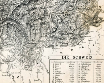 1860 German Vintage Map of Switzerland - Black and White