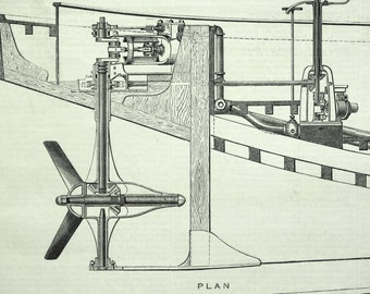 Antique Print of the Mallory Propeller - 1878 Vintage Print from The Engineer - Engineering Drawing