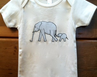 Elephant and Baby T shirt for Children or Onesie for Babies Organic Cotton Sizes 6 months to 12 Years Natural
