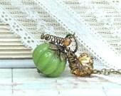 Fall Jewelry Pumpkin Necklace Woodland Jewelry Autumn Necklace Pumpkin Jewelry Green Pumpkin