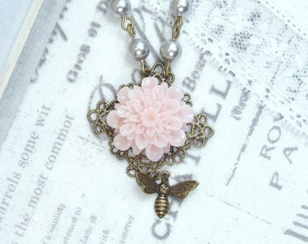 Pink Flower Necklace Bee Necklace Pink Flower Pendant Pink Mum Necklace Shabby Chic Necklace