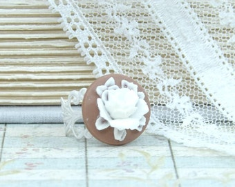 White Rose Ring Victorian Ring Rose Cameo Ring Adjustable Ring White Flower Ring Brown And White Ring